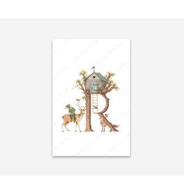 Wishingwell Letterkaart ' R ' - Roodborstjes - Foto 20 x 30 - met passe partout 30 x 40