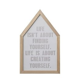 Bloomingville Tekst in lijst - Huis - life isn't about finding yourself. Life is about creating yourself - 28 x 45