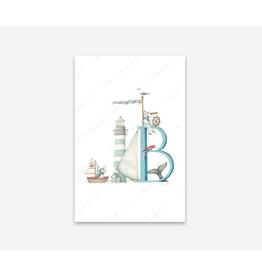 Wishingwell Letterkaart  'B' - Bootje - Foto 20 x 30 - met passe partout 30 x 40 - met kader 33 x 43