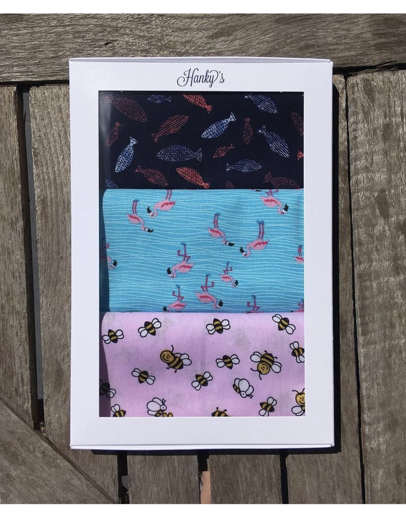 Hanky's 3 Zakdoeken - Vis, flamingo, bijtje - 100% katoen