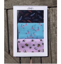 Hanky's Zakdoeken - set van 3- Vis, flamingo, bijtje - 100% katoen