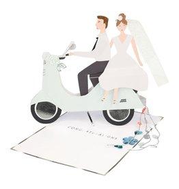 Meri Meri Wenskaart -  Wedding Scooter Card + Envelope  - 10,5 x 23,5 - Congratulations