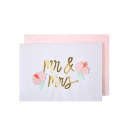 Meri Meri Wenskaart - Mr & Mrs Roos + Envelop  - 10,5 x 23,5 - Congratulations