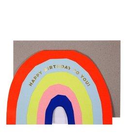 Meri Meri Wenskaart - Neon Rainbow Birthday + Envelop - 13,5 x 18,5 - Happy Birthday To You!