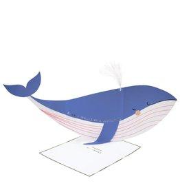 Meri Meri Wenskaart - Whale - Stand Up Card + Envelop - 10,5 x 23,5 - Happy Birthday