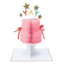 Meri Meri Wenskaart - YAY! Cake - Honeycomb + envelop - 13,5 x 18,5 - Happy Birthday