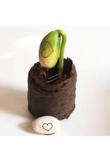 Kop op! Een lief klein doosje - Bloom your happiness wishes! - Kop op! zaaidoosje, kokos zwel tablet,  1 buisje met 3 bonen - Doosje kan door de brievenbus