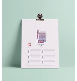 mmmMar Verjaardagskalender Gent - Zeefdruk - Clip met magneet 3,8cm - Formaat 15,2 x 20,3 cm