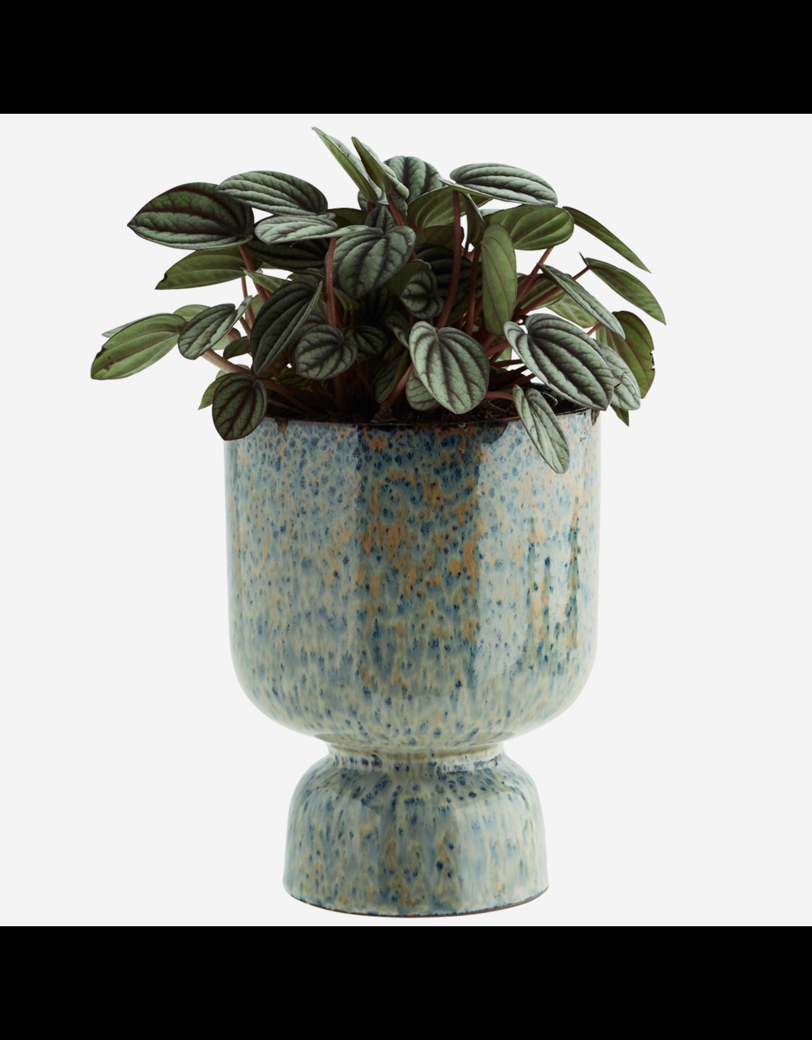 Madam Stolz Bloempot - blauw en roest - Ø 14 x H 17,5 cm - Steen