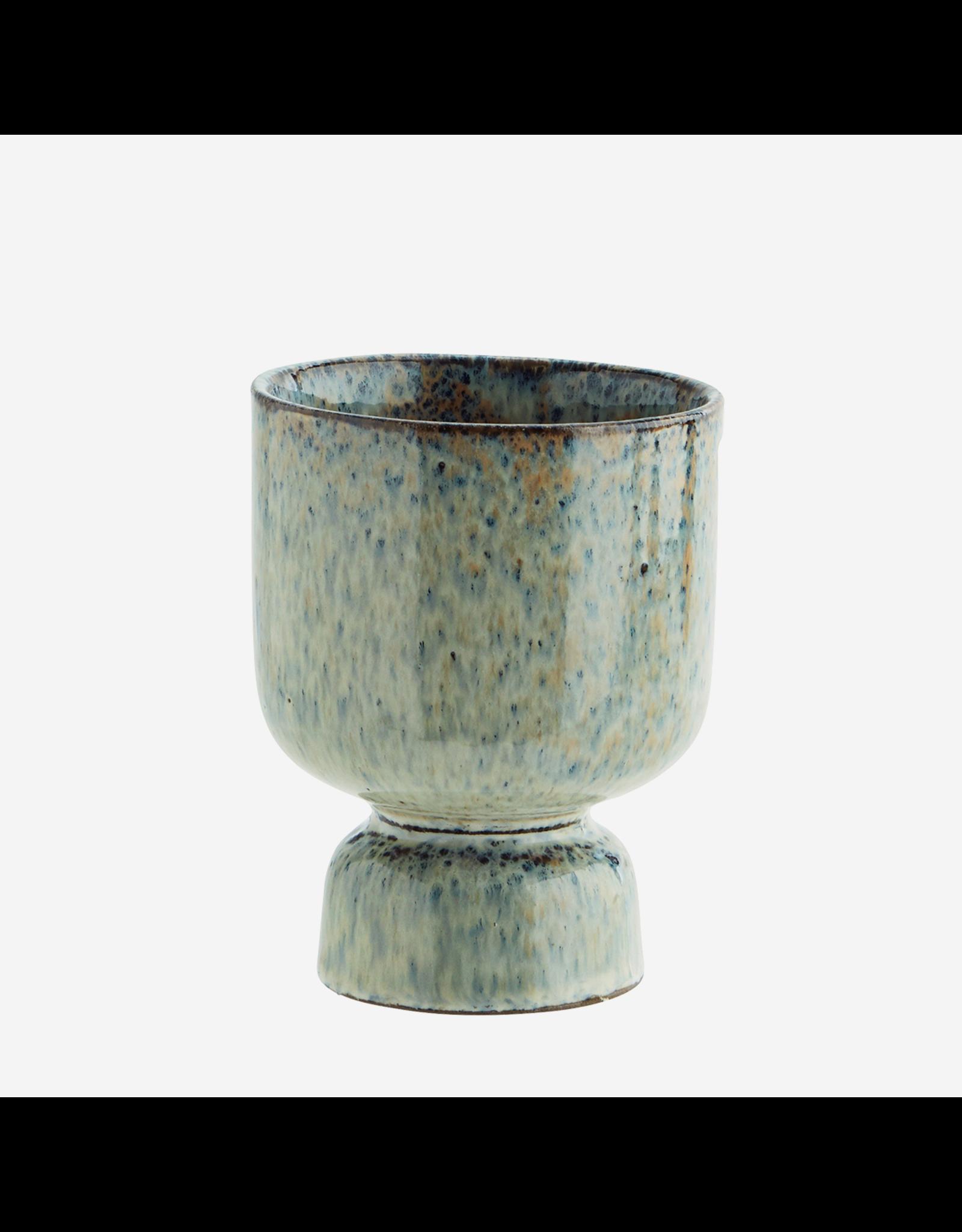 Madam Stolz Bloempot - blauw en roest - Ø 10,5 x H 13,5 cm - Steen