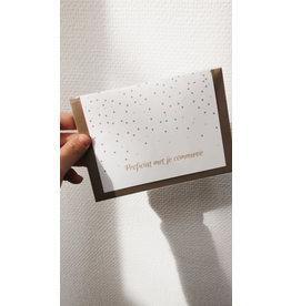 Mus in een Plas Wenskaart - Groene Confetti, Proficiat met je communie - Dubbele kaart - enveloppe