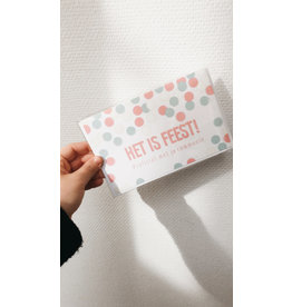 Mus in een Plas Wenskaart - Het is feest, Proficiat met je communie - Dubbele kaart - enveloppe