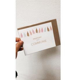 Mus in een Plas Wenskaart - Tassels ,Proficiat met je communie - Postkaart + enveloppe