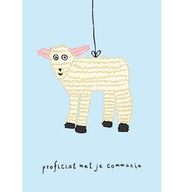Kaart blanche Wenskaart - Piñata Lammetje, Proficiat met je communie - Postkaart + enveloppe