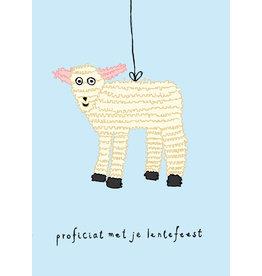 Kaart blanche Wenskaart - Piñata Lammetje, Proficiat met je Lentefeest - Postkaart + enveloppe
