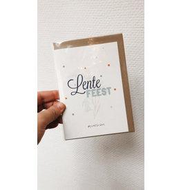 Mus in een Plas Wenskaart - Lentefeest, Proficiat - Dubbele kaart + enveloppe