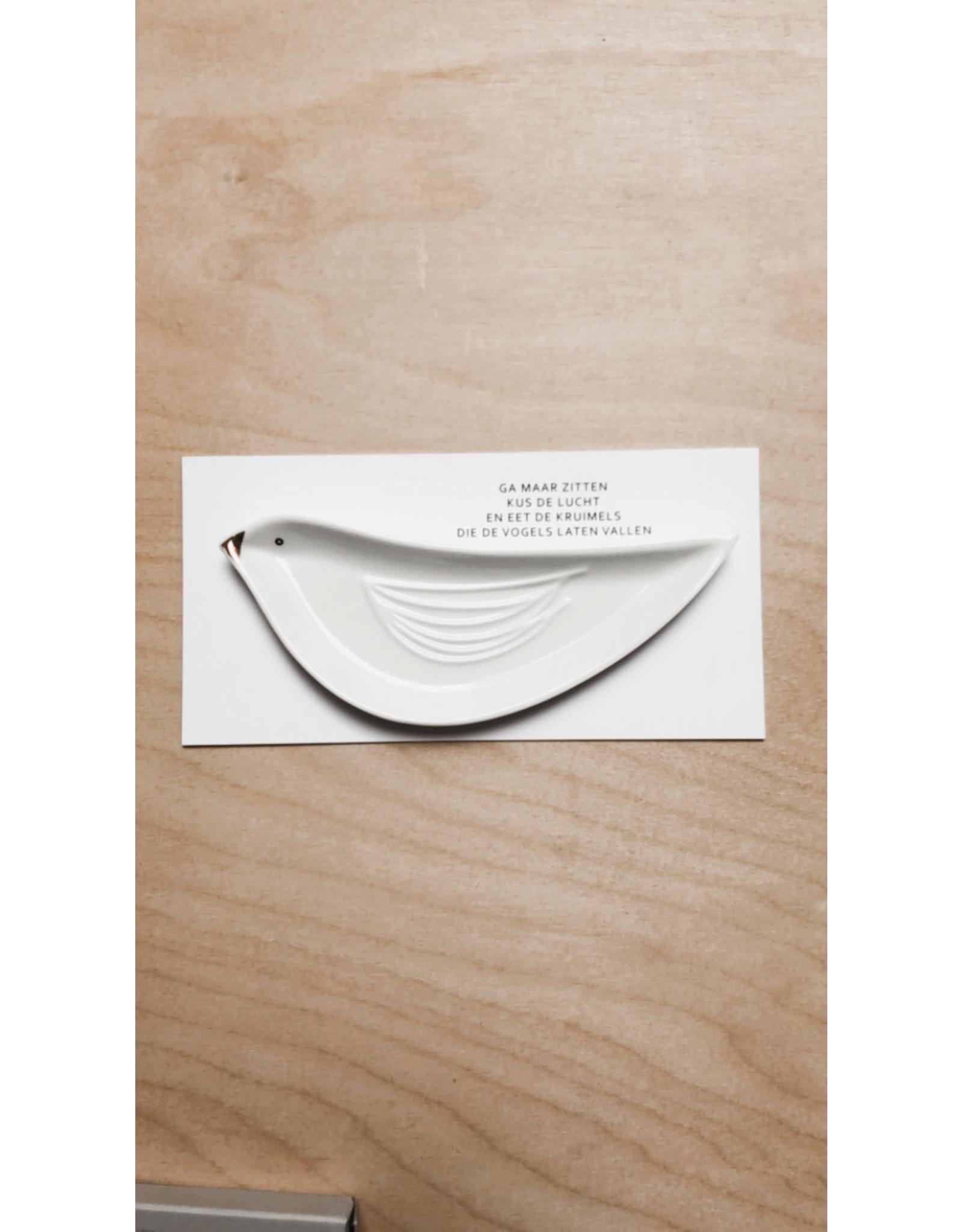 Raeder Geluksbordje + Gedichtje - Vogel + Kus de lucht - 13 x 4 cm