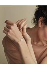 Nadja Carlotti Armband Coquillage - Houtskool - Messing verguld - Geïnspireerd op de rotsen van Lavezii eilanden - Lengt 16 cm + 2 cm - Patroon B 1,2 x H 1,2 cm