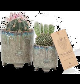 Plantophile Bloempot gezicht - Petrol - Ø 6,5cm