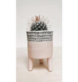 Plantophile Bloempotje 3 pootjes - Roos & streepjes - Ø 6,5 x H 10 cm