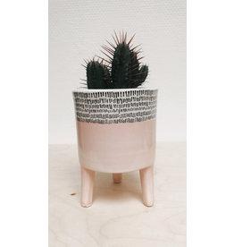 Plantophile Bloempot 3 pootjes - Roos & streepjes - Ø 10 x H 13 cm