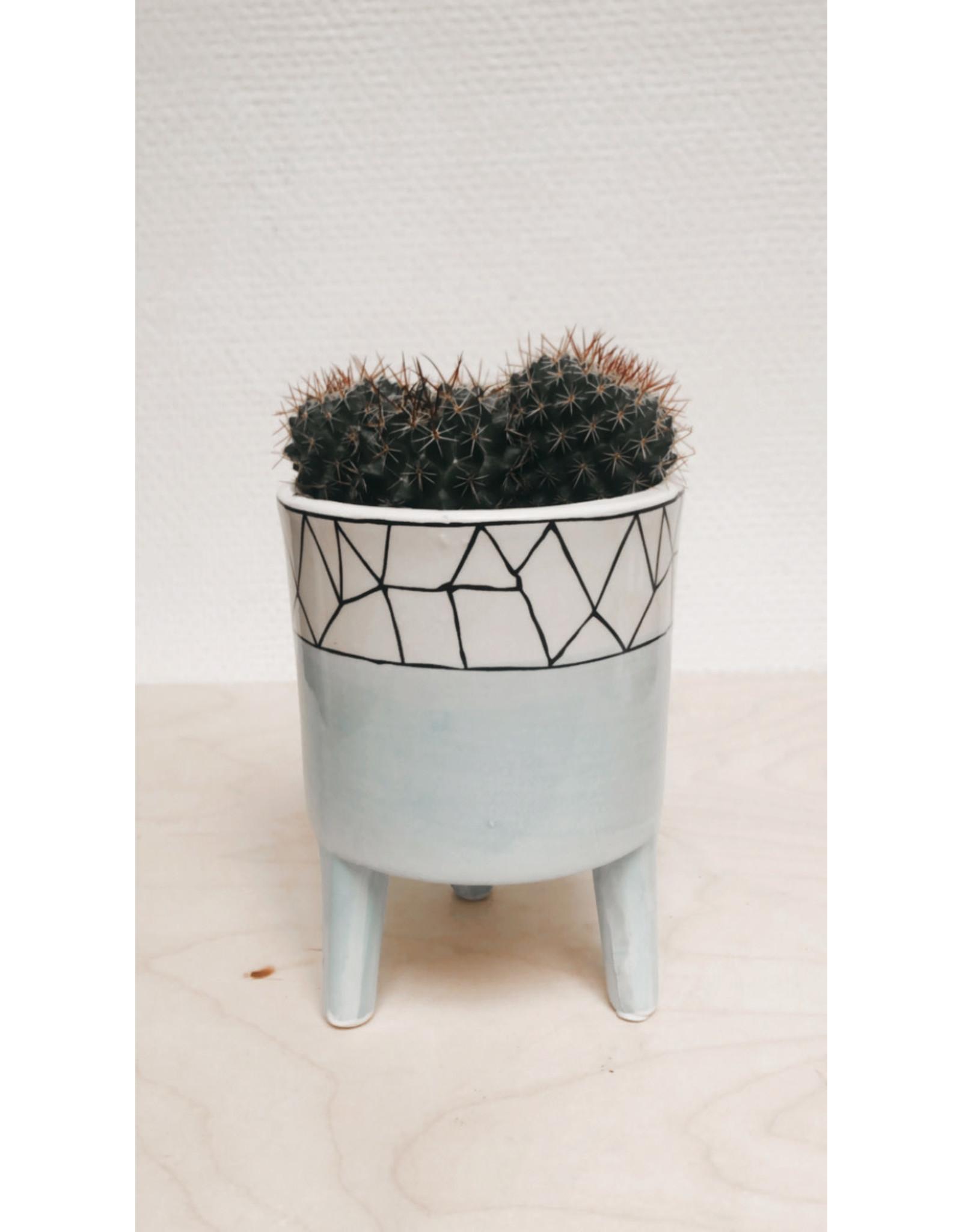 Plantophile Bloempot 3 pootjes - Blauw & Geometrische lijntjes - Ø 10 x H 13 cm
