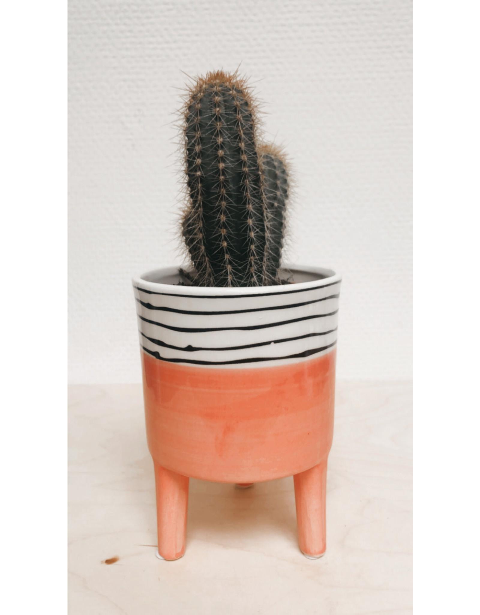 Plantophile Bloempot 3 pootjes - Oranje & Horizontale lijntjes - Ø 10 x H 13 cm