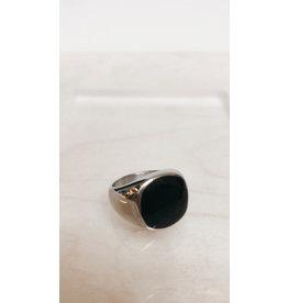 Juwelen Signet Ring - Zwart vierkant, Zilver - RVS -