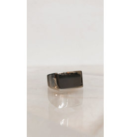 Juwelen Signet Ring - Zilvere rechthoek - RVS -