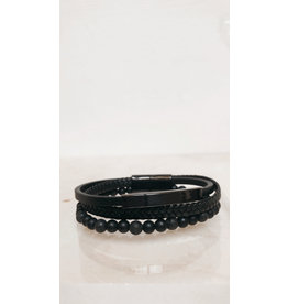Juwelen Armband - Zwarte parels, Lederen vlecht en ledere band - Mageneet sluiting  - 23 cm