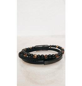 Juwelen Armband - Zwarte en bruine parels, Lederen vlecht en ledere band - Mageneet sluiting  - 23 cm