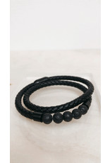 Juwelen Armband - Dubbel - Gevlochten band met  5 zwarte parels - Mageneet sluiting  - 23 cm