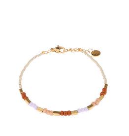 Label Kiki Armband - Pastel Beads Silver  - RVS - 16,5cm + 2,50 verlengketting
