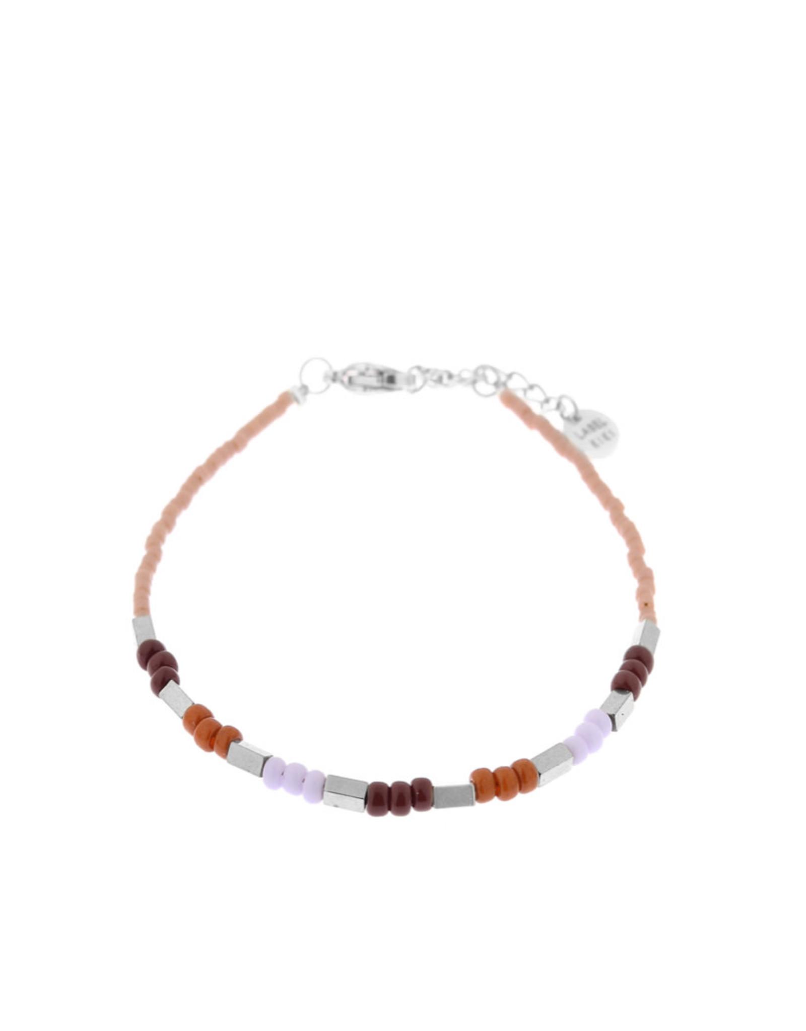 Label Kiki Armband - Pastel Beads Silver 2.0  - RVS - 16,5cm + 2,50 verlengketting