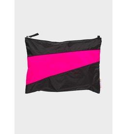 Susan Bijl Pouch L, Black & Pretty Pink 35 x 25cm