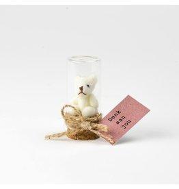 Sidedish Beer in flesje knuffel - Denk aan jou! - Mini knuffelbeertje in flesje - 4,5 x 2 cm