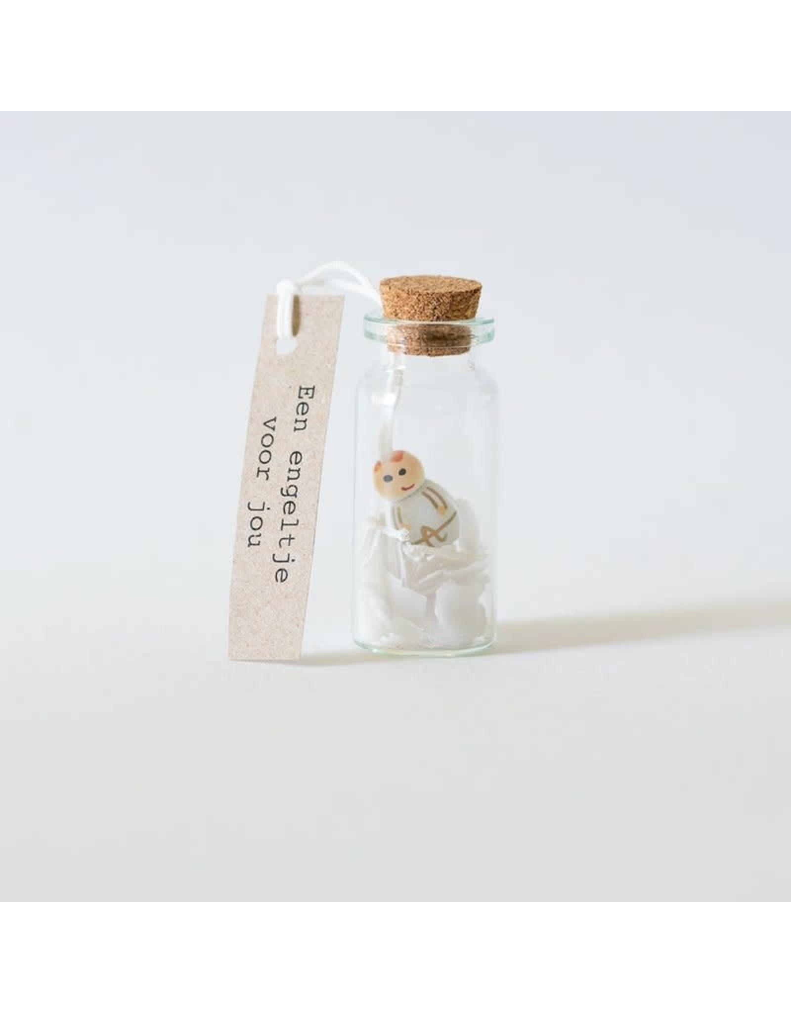 Sidedish Mini flesje geluk engel - Een engeltje voor jou! - 3,9 x 2,2