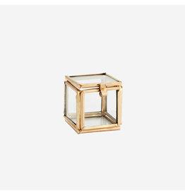Madam Stolz Glazen doosje Mini - Goud - Kubus - 3,5 x 3,5 x 3,5 cm