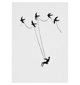 Raeder Wenskaart - Schommelen met vogels - Postkaart