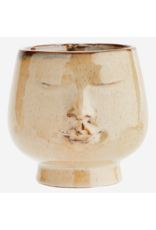 Madam Stolz Bloempot Gezicht - Beige, Bruin, - Ø 14,5 x H 14