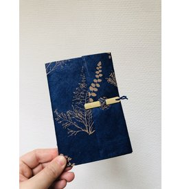 Lamali Boekje Escapade - Blauw Planten  - Zachte papieren kaft  - 20 ivoren pagina's - Handgemaakt 100% katoenpapier - 10  x 15,5 cm