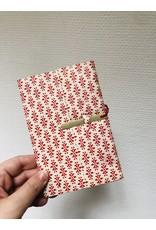 Lamali Boekje Escapade - Rood Bloemen patroon - Zachte papieren kaft  - 20 ivoren pagina's - Handgemaakt 100% katoenpapier - 10  x 15,5 cm