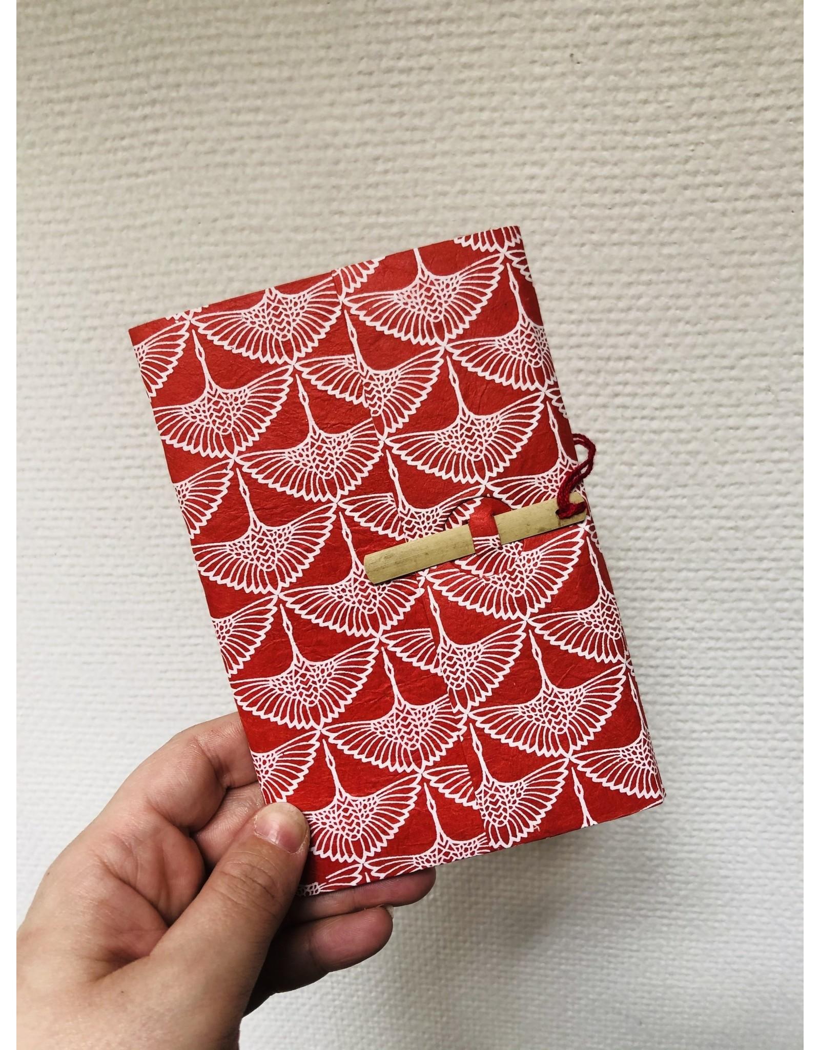 Lamali Boekje Escapade - Roos Kraanvogel Patroon - Zachte papieren kaft  - 20 ivoren pagina's - Handgemaakt 100% katoenpapier - 10  x 15,5 cm