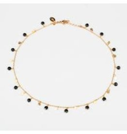 Murielle Perotti halsketting MP Giusy zwart/goud 40 cm