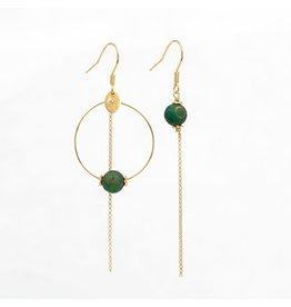 Murielle Perotti oorbel MP 1creool asym agate groen-bruin goud
