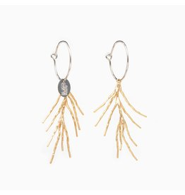 Murielle Perotti oorbel MP 2creolen mini asym palm zilver/goud