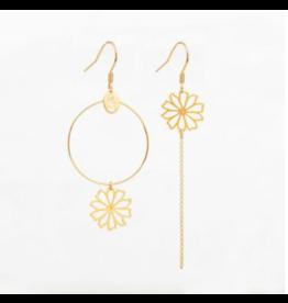 Murielle Perotti oorbel MP Flower asym/goud
