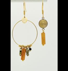 Murielle Perotti oorbel MP asym charm oranje/goud