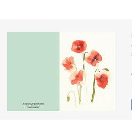 Ping He Art Wenskaart - Pink Poppy - Dubbele kaart + enveloppe - A6