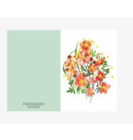 Ping He Art Wenskaart - Anemone - Dubbele kaart + enveloppe - A6